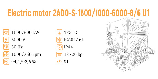 Supply of 2ADO-S-1800 / 1000-6000-8 / 6U1 electric motors to the Pechora State District Power Plant