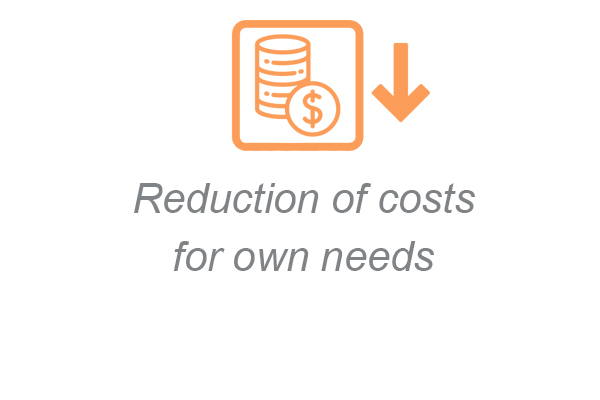 Reduction of costs for own needs